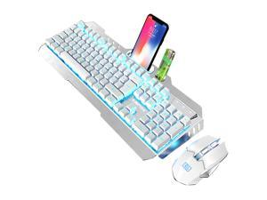 LIMEIDE K670 Wireless Gaming Keyboard and Mouse,Blue Backlit Rechargeable Keyboard Mouse with 3800mAh Battery Metal Panel,Mechanical Feel Keyboard and 7 Color Gaming Mute Mouse for PC Gamer White