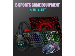 Gaming Keyboard Mouse And Gaming Headset And Mouse Pad Combination, Led Rainbow Backlight, Lighting Effect Usb Cable, All-In-One Pc Game Player Suit, Suitable For PC, Tablet, Mobile Phone