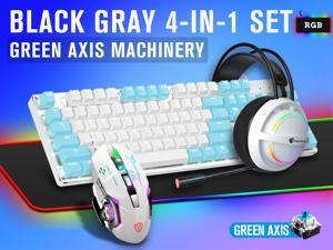 LIMEIDE Real Mechanical Blue Axis Iron Plate Rgb Gaming Keyboard Mouse Headset Mouse Pad Four-Piece Set(White and blue)
