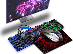 Punk luminous keyboard mouse headset mouse pad Black, RGB gaming keyboard backlit mouse combo USB wired backlit keyboard LED gaming keyboard and mouse set suitable for laptop gaming and work