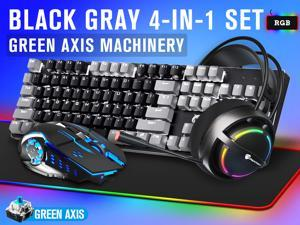 LIMEIDE Real Mechanical Blue Axis Iron Plate Rgb Gaming Keyboard Mouse Headset Mouse Pad Four-Piece Set(Gray-black)