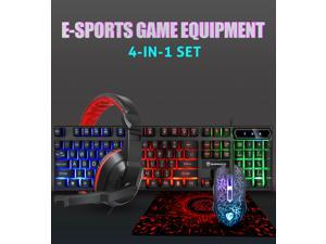 Character Luminous Keyboard, Mouse, Headset, Mouse Pad,  4 Set ,RGB Gaming Keyboard And Backlit Mouse Combo, Usb Wired Backlit Keyboard, Led Gaming Keyboard And Mouse Set,