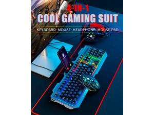 Iron Plate Backlit Wired Gaming Keyboard And Mouse Combo, With Led Gaming Headset Set, 50mm Speaker Driver Headset + Mouse Pad, Suitable For Pc Gamers, Computer Offices