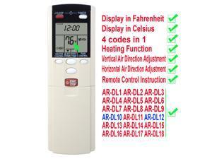 Compatible with Fujitsu Air Conditioner Remote Control ARDL10 AR-DL10 ASU18C1 ASU18R1 ASU24C1 ASU24R1 ASU30C1 AOU18C1 AOU18R1 AOU24C1 AOU24R1 AOU30C1 Display in Fahrenheit and Celsius
