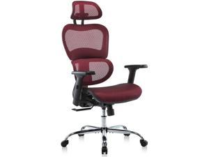 Ergonomic Office Chair,  High Back Mesh Chair for Home Office, Swivel Desk Chair, Height-adjustable Computer Chair with Adjustable Headrest & 3D Armrests, 19.6''(L) * 19.6''(W) * 47.24''(H), Red