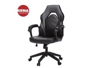 Gaming Chair, Racing Style Computer Desk Chair Padded Armrests Ergonomic Lumbar Support Adjustable Height,Grey