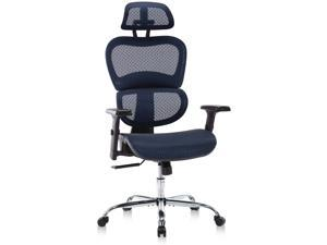 Ergonomic Office Chair, High Back Mesh Chair, Height-adjustable Computer Chair with Lumbar, Swivel Desk Chair with Flexible Headrest & Armrests, 19.6''(L) * 19.6''(W) * 47.24''(H) , Blue