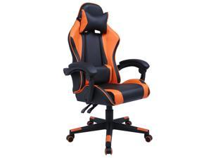 GIAS Gaming Chair Racing Style Ergonomic High Back Computer Chair With Adjustable Headrest and Lumbar Support Swivel Office Chair, Seat Height Adjustable,Black/Orange