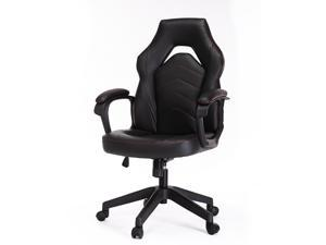 Gaming Chair, Racing Style Computer Desk Chair Padded Armrests Ergonomic Lumbar Support Adjustable Height,Black