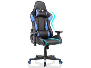 Gaming Chair Racing Video Game Chairs High Back Ergonomic Office Computer Desk Chair with Headrest and Lumbar Pillow Recliner Swivel Rocker Chair - Blue