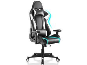 Gaming Chair Racing Video Game Chairs High Back Ergonomic Office Computer Desk Chair with Headrest and Lumbar Pillow Recliner Swivel Rocker Chair - White