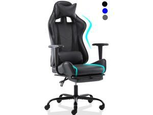 SMUGDESK Gaming Chair with Footrest Racing Style Ergonomic Office Desk Chair Adjustable Swivel Leather High Back Computer Chair with Headrest and Lumbar Support (Black)