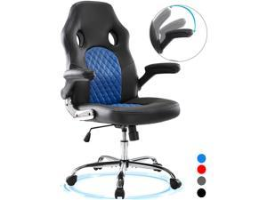 Gaming Chair Ergonomic Executive Office Desk Chair High Back Leather Swivel Computer Racing Chair with Lumbar Support (Blue)
