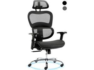 High Back Ergonomic Office Chair - Adjustable Headrest Mesh Task Chair Reclined and Lockable Executive Chair with Lumbar Support Comfortable Swivel Computer Chair with Armrest - Black