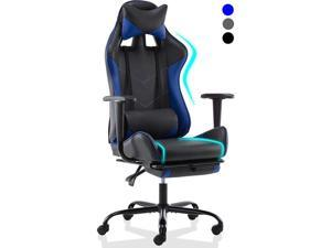 SMUGDESK Gaming Chair with Footrest Racing Style Ergonomic Office Desk Chair Adjustable Swivel Leather High Back Computer Chair with Headrest and Lumbar Support (Blue)