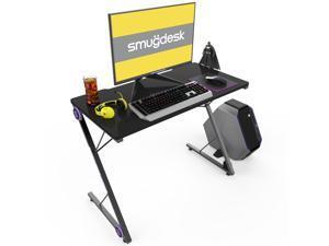 """SMUGDESK 39.4"""" x 19.7"""" Gaming Desk - PC Computer Desk Home Office Desk Gaming Table Z Shaped Gamer Workstation with LED Lights - Black"""