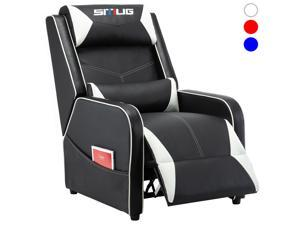 Gaming Recliner Chair Racing Style Single PU Leather Sofa Comfortable Living Room Recliners Ergonomic Adjustable Home Theater Seating - White