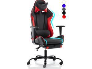 Gaming Chair Racing Video Game Chairs High Back Ergonomic Office Computer Desk Chair with Headrest and Lumbar Pillow Recliner Swivel Rocker Chair - Green