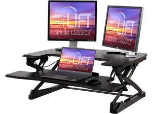 """airLIFT 35"""" Height Adjustable Stand Up Laptop Desk Converter/Riser - Keyboard Tray, Quick Lift Ergonomic Table, 35.4"""", Black"""