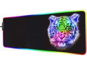 RGB Gaming Mouse Pad - 14 Light Modes Extended Computer Keyboard Mat, Anime LED Mouse Pad Large,High-Performance Mouse Pad Optimized for Gamer 31.5 X 12in (Tiger Mouse pad)