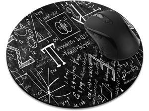 Non-Slip Round Mousepad, Math Equations Blackboard Mouse Pad for Home, Office and Gaming Desk