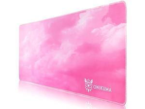ONIKUMA Gaming Mouse Pad, 31.5 Inch Large Pink Mouse Pad with Durable Stitched Edges, Extended Desk Keyboard Mouse Mat for Gaming, Work, Home, Office