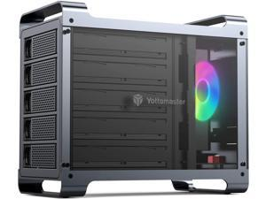 """Yottamaster 5 Bay Hard Drive Enclosure,Aluminum Alloy 2.5""""& 3.5"""" SATA HDD/SSD External HDD SSD Storage Enclosure with 80mm RGB Silent Fan,Supports 5X16TB Capacity for PC DIY Experts&Gamers [DF5U3]"""