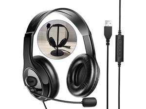Computer Headset and Headphone Stand Holder,USB Headset with Microphone Noise Cancelling Mic Mute,Business PC Headset for Call Center,Skype Chat, Webinar,Conference Calls,Online Course
