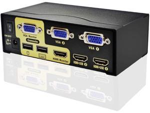 Dual Monitor Kvm Switch 2-Port HDMI+VGA-Dual Monitor Extended Display-Ir Remote Control-VGA+HDMI-Dual Video Monitor Keyboard Mouse Computer Switcher