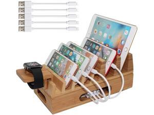 Bamboo Charging Station Organizer for Multiple Devices & Wood Desktop Docking Charging Stand Such As Cell Phone, Tablets, Phone Case and Watch Stand -