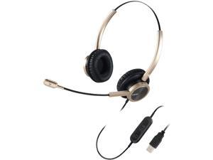 USB Headset with Microphone for Office Conference Call Skype Microsoft Teams Binaural, PC Headset with Mic Mute Volume Control for Nuance Voice Recognition Speech Dictation