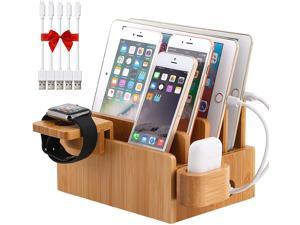 Bamboo Charging Station Organizer for Multiple Devices, Desktop Docking Stations Holder for Cell Phone, Tablet, iWatch, Airpod Charge Stand (Included Watch & Airpod Stand, 5 Cable) (?No USB Charger)