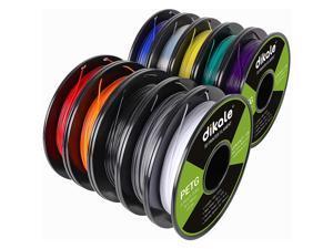 PETG 10 Packs, 3D Printer Filament 1.75mm, Each Spool Net Weight 1.1lbs(500g), 10 Colors Pack