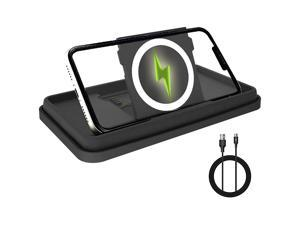 Car Wireless Charger Pad 15W/10W/7.5W Qi Fast Wireless Car Charger Pad Mat Stand Car Wireless Charging Pad Phone Holder Mount for iPhone 12/Mini/11/Pro Max/XS/XR/X/8, Samsung S10/S9/S8/Note10/Note9