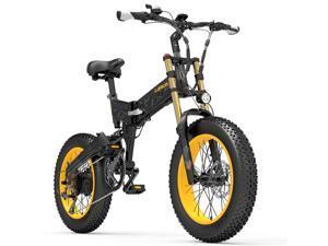 X3000plus-UP 1000W Folding E-bike, 20 Inch Snow Bike Fat Tire Bicycle, Front & Rear Dual Suspension