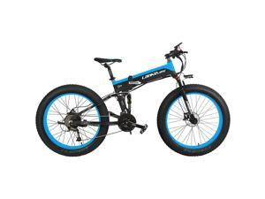 1000W Electric Mountain Bike 27 Speed Snow Bike Folding Ebike 5 PAS Full Suspension 26'' 4.0 Fat Tire