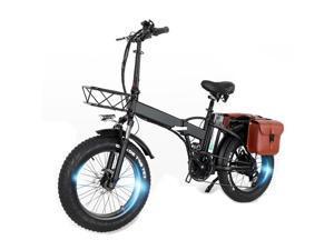 GW20 Portable 20 Inch Mountain Bike, 750W Folding E-bike, 7 Speed Snow Bike Fat Bike, 48V 24Ah Large Capacity Battery,With Rear Bag