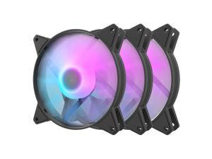 darkFlash C6 Black 120mm ARGB Case Fan 3 Packs RGB 5V ARGB Computer Cooling PC Case Fans for Computer Case