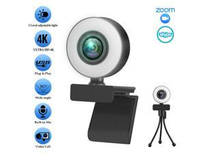 Webcam with Ring Light and Microphone,2K Web Camera for PC/MAC/Laptop/Desktop,Wide Angle Web Camera for YouTube,Skype,Zoom,Xbox One Video Calling,Studying and Conference