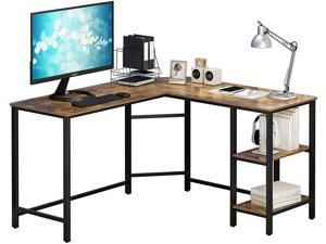 """HOMEBI L-Shaped Gaming Computer Desk, Corner Table, Office Study Workstation with 2 Wooden Shelves for Home Office Study, Made of Wood and Metal, Easy to Assemble, Rustic Brown, 54.3"""" x 54.3"""" x 29.53"""""""