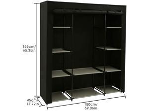 "HOMEBI Closet Organizer Wardrobe Clothes Closet, Non-Woven Fabric Cloth Storage Shelf with Hanging Rod and 10 Shelves for Extra Storage, 59.05"" W x 17.72"" D x 65.4"" H (Black)"
