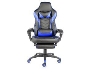 New Style Ergonomic Gaming Chair Racing Chair E-Sports Chair High Back Swivel Computer Game Chair Home Office Chair with Foldable Five-star Foot,Swivel Rocker,Headrest,Lumbar Support and Footrest