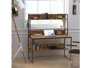 47 inch Computer Desk Office Writing Desk Workstation Desk Gaming Desk with Bookshelf Desktop Display Shelves Bottom Storage Shelves for Home Office Small Space