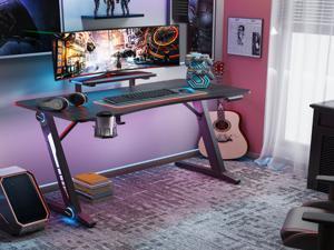 Z-Shaped Gaming Desk Home Office Computer Desk Gamer Workstation with Monitor Stand Carbon Fiber Surface Gamer Table with RGB Lights Cup Holder Headphone Hook Plug Board Holder