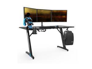 Ergonomically Z Shaped Home Office Desk Gaming Desk with Headphone Holder Cup Holder Plug Board holder Game Handles Holder