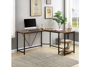 Home Office Desk L-Shaped Computer Desk Gaming Desk with 2-Tier Storage Shelves