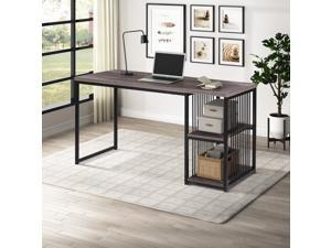 """55"""" Home Office Computer Desk Writing Desk Gaming Desk with 2 Storage Shelves on Left or Right Stable Metal Frame Easy Assembly Brown"""