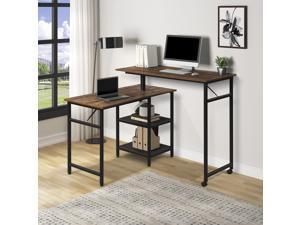 Home Office L Shaped Desk Rotating Standing Computer Desk Industrial 360 Degrees Free Rotating Corner Computer Desk Gaming Desk with Storage Shelf Brown