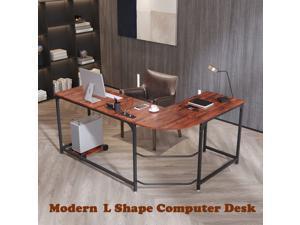 66'' Modern L-shaped Desk Home Office Desk Computer Desk Gaming Desk Large Workstation with Round Corner and CPU Stand Sandalwood