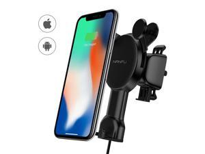 NANFU Smart Automatic Sensor Wireless Car Charger 2-IN-1 Qi Wireless Charger Car Phone Holder Mount Cell Phone Automobile Cradles Air Vent Phone Holder 7.5W & 10W Wireless Fast Charging Mount